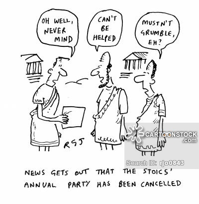 'News gets out that the Stoics' annual party has been cancelled.'